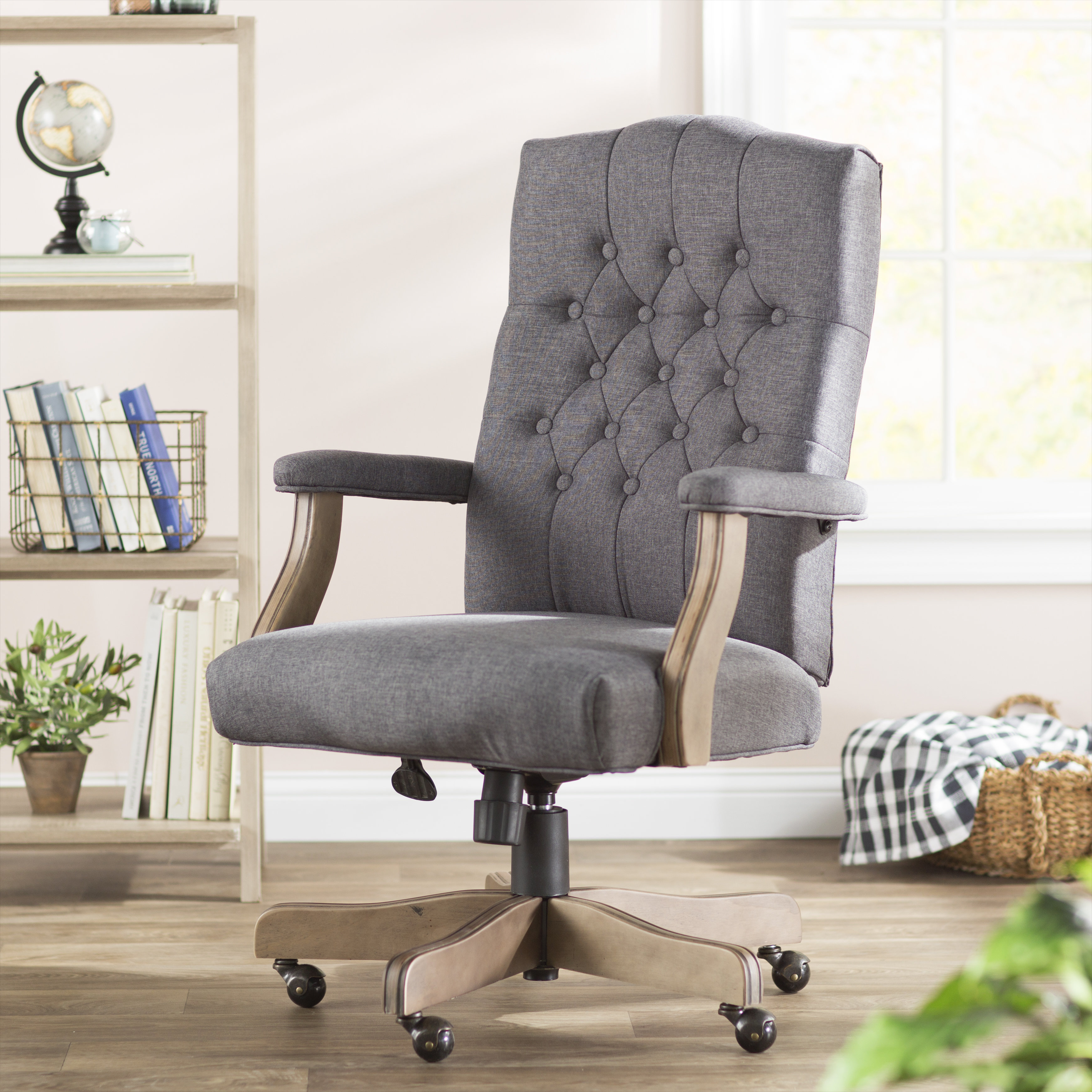 Three Posts Wurthing High Back Executive Chair & Reviews | Wayfair Throughout Katrina Grey Swivel Glider Chairs (View 15 of 25)