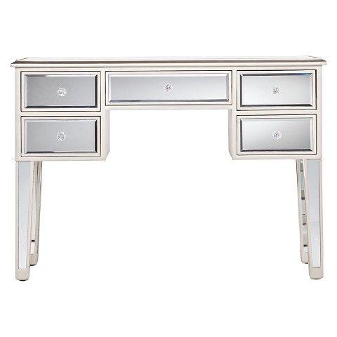 Tobias Mirrored Desk – Silver (Image 19 of 25)