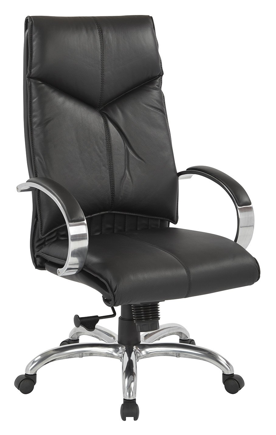 Top Grain Black Leather High Back Swivel Chair With Chrome Base Throughout Leather Black Swivel Chairs (View 12 of 25)