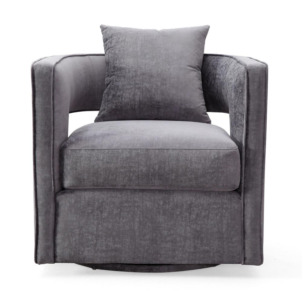 Tov Furniture Kennedy Grey And Velvet Swivel Chair Tov L6125 – The Intended For Grey Swivel Chairs (View 1 of 25)