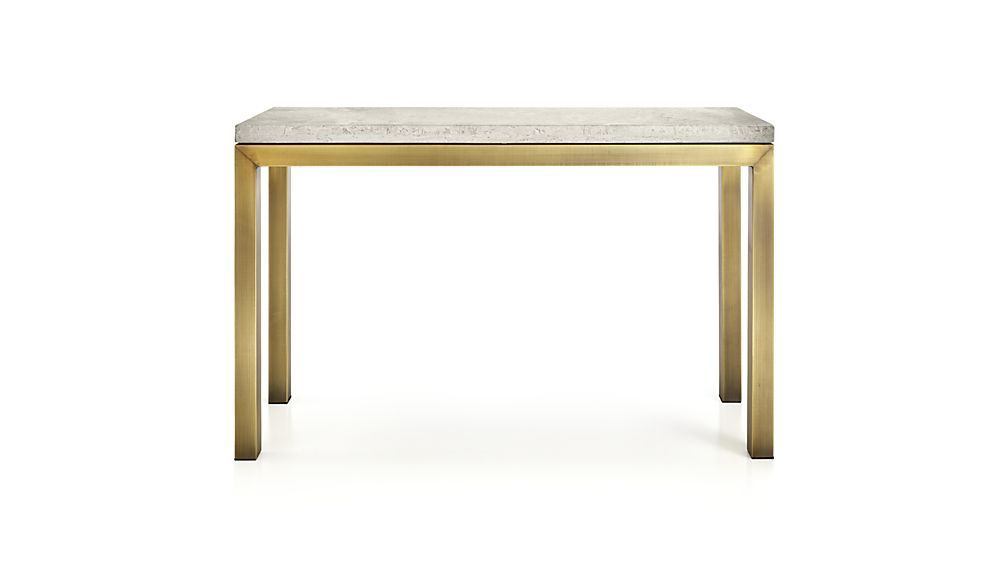 Travertine For Well Liked Parsons Concrete Top & Brass Base 48X16 Console Tables (Image 21 of 25)