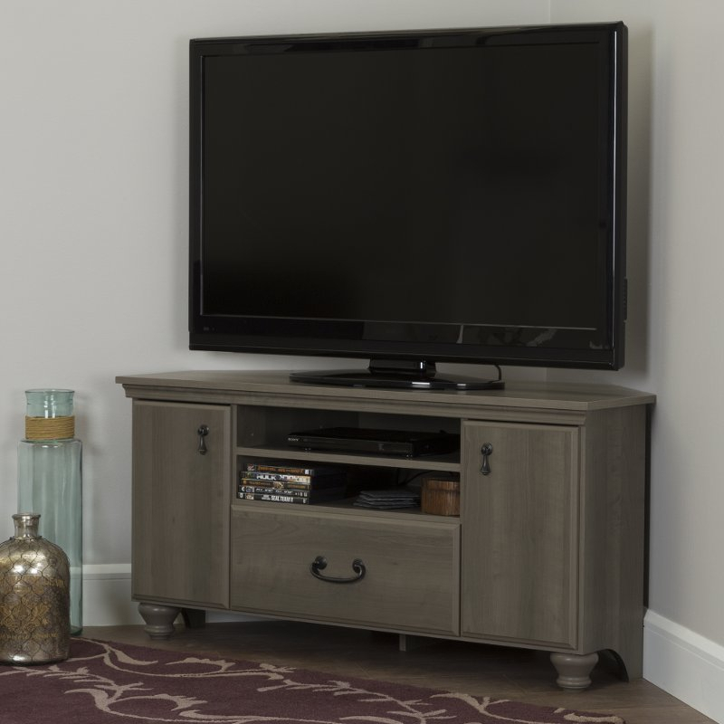 Trendy 55 Inch Corner Tv Stands Inside Gray Maple Corner Tv Stand For Tvs Up To 55 Inch – Noble (View 4 of 25)