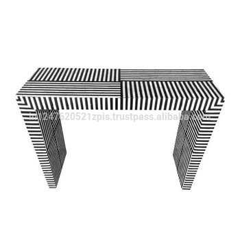 Trendy Black And White Inlay Console Tables Throughout Black Bone Inlay Striped Pattern Console Table – Buy Luxury Console (View 18 of 25)