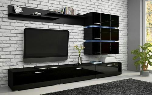 Trendy Black Gloss Tv Wall Unit Pertaining To Modern Tv Unit In Black High Gloss Finish At Rs 65000 /number (Image 20 of 25)