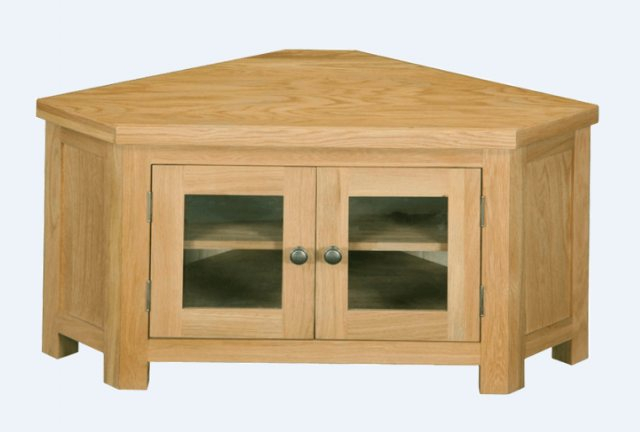 Trendy Corner Tv Cabinets With Glass Doors Intended For Real Wood Richmond Corner Tv Unit Glass Doors – Tv & Media Units (Image 21 of 25)