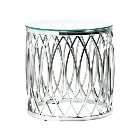 Trendy Elke Glass Console Tables With Polished Aluminum Base With Metal And Glass Side Table Living Room Living Room Selfpub Elke (Image 21 of 25)
