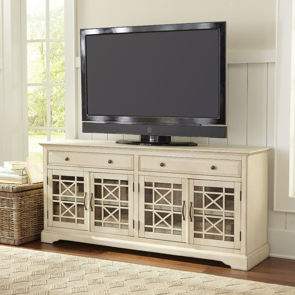 Trendy Kenzie 72 Inch Open Display Tv Stands within White Tv Credenza