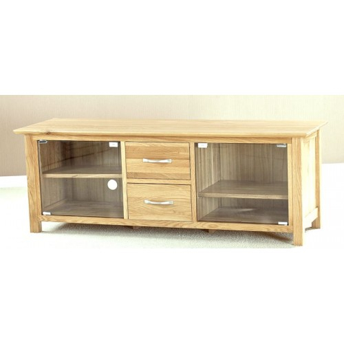 Trendy Oak Tv Cabinet With Doors With Regard To Helsinki Oak Large Glass Door Tv Cabinet (View 24 of 25)