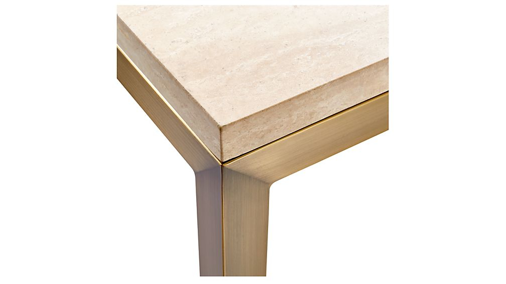 Trendy Parsons Concrete Top & Elm Base 48X16 Console Tables Intended For Parsons Travertine Top/ Brass Base 48X16 Console + Reviews (Image 25 of 25)