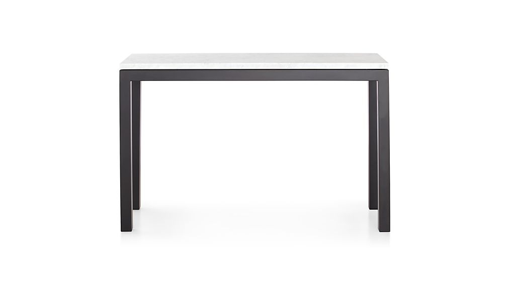 Trendy Parsons Grey Marble Top & Elm Base 48X16 Console Tables Pertaining To Parsons White Marble Top/ Dark Steel Base 48X16 Console (Image 25 of 25)