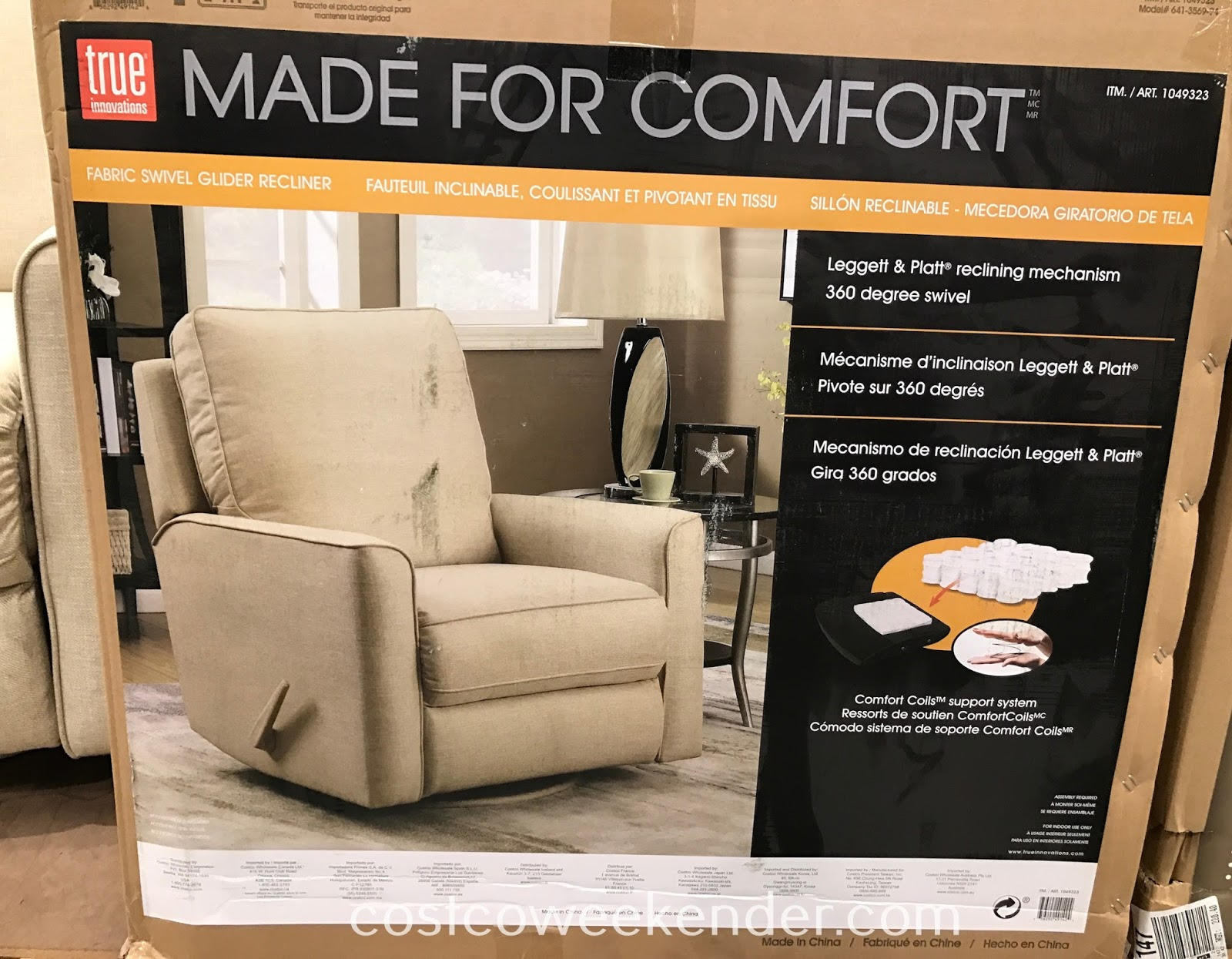 True Innovations Fabric Swivel Glider Recliner Chair | Costco Weekender Throughout Decker Ii Fabric Swivel Rocker Recliners (Image 24 of 25)