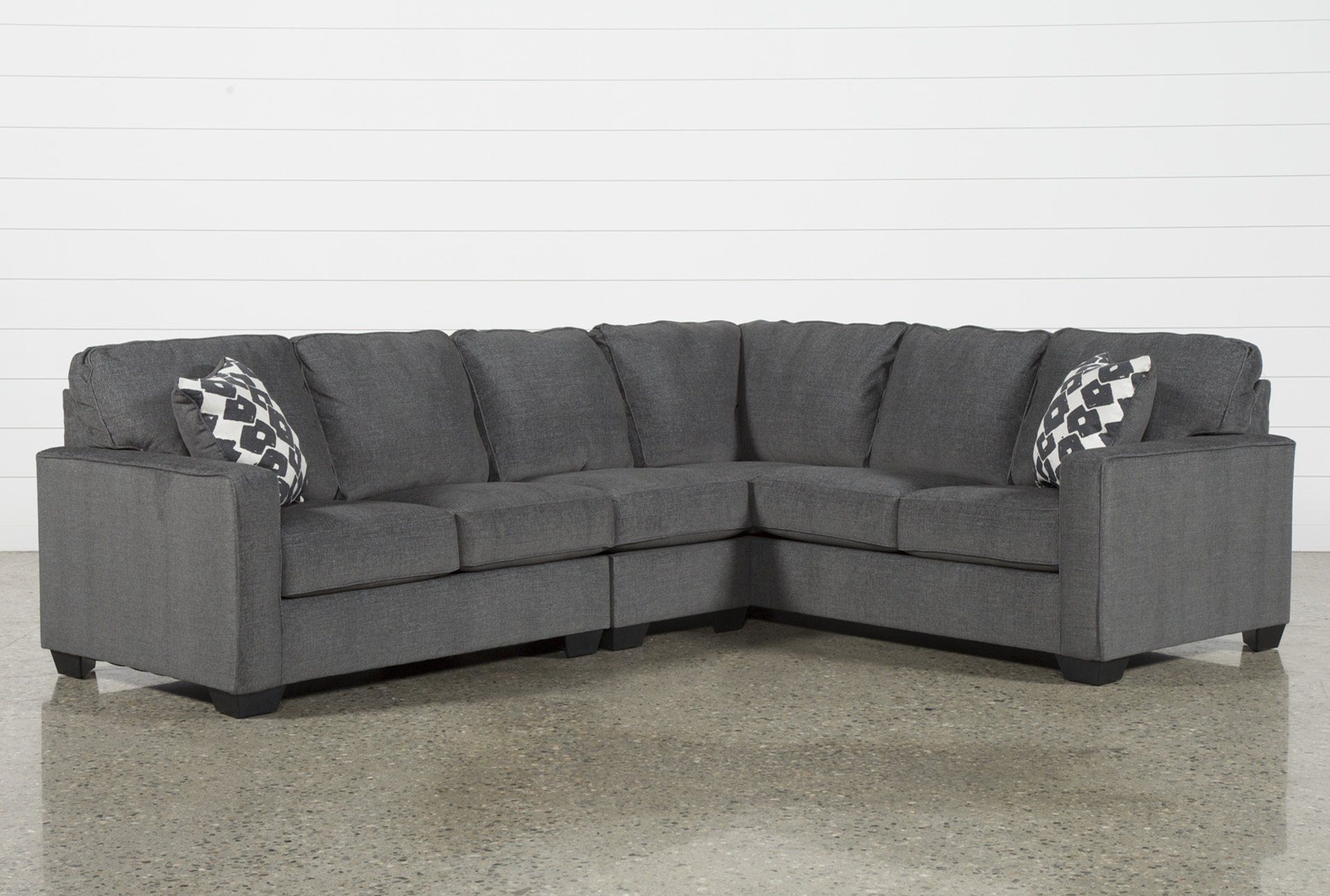 Turdur 3 Piece Sectional W/laf Loveseat With Mcdade Graphite Sofa Chairs (Image 25 of 25)