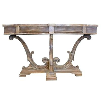 Tuscan Console Table Old World Style Hand Crafted White Wash Wood With Regard To Current Hand Carved White Wash Console Tables (View 9 of 25)