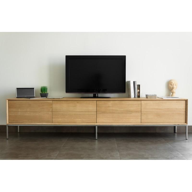 Tv Cabinet Low Design 2 Drawers 2 Doors Jason Solid Oak (Natural Oak) Within Trendy Low Oak Tv Stands (Image 21 of 25)
