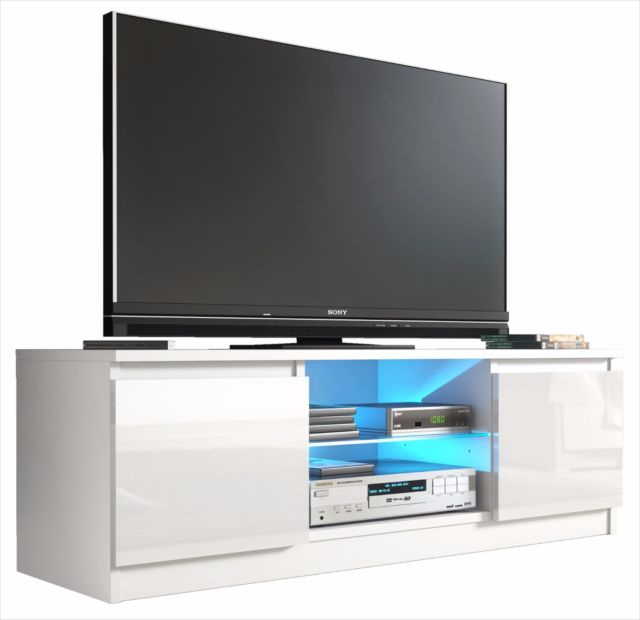 Tv Cabinet White Gloss Door Unit Entertainment Stand Glass Shelf Led Intended For Most Current Tv Bench White Gloss (Image 20 of 25)