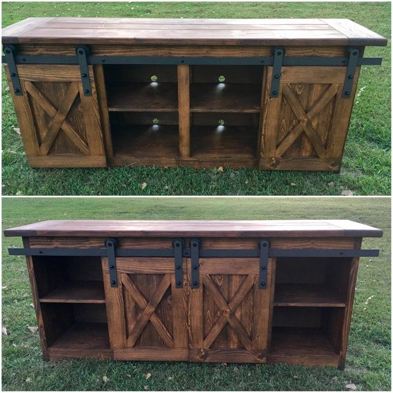 Tv Console/tv Stand/entertainment Center/barn Door/custom/media Intended For Trendy Bale Rustic Grey 82 Inch Tv Stands (View 15 of 25)