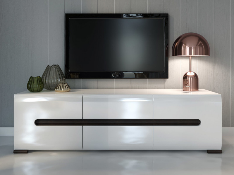 Tv Stand Cabinet Unit In White High Gloss Or Oak Azteca Living Room For Preferred Black Gloss Tv Wall Unit (Image 22 of 25)