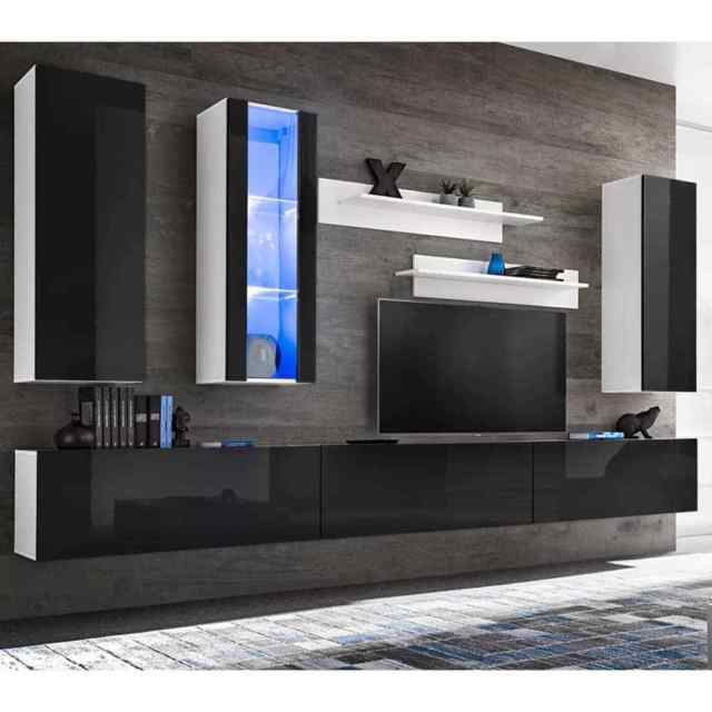 Tv Wall Cabinet Media Unit Set 8 Pieces With Led Lights High Gloss Regarding Most Recently Released Black Gloss Tv Wall Unit (View 19 of 25)