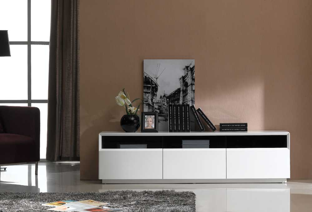 Tv023 White Gloss Tv Stand Blackj&m Furniture Throughout Newest Low Oak Tv Stands (Image 23 of 25)