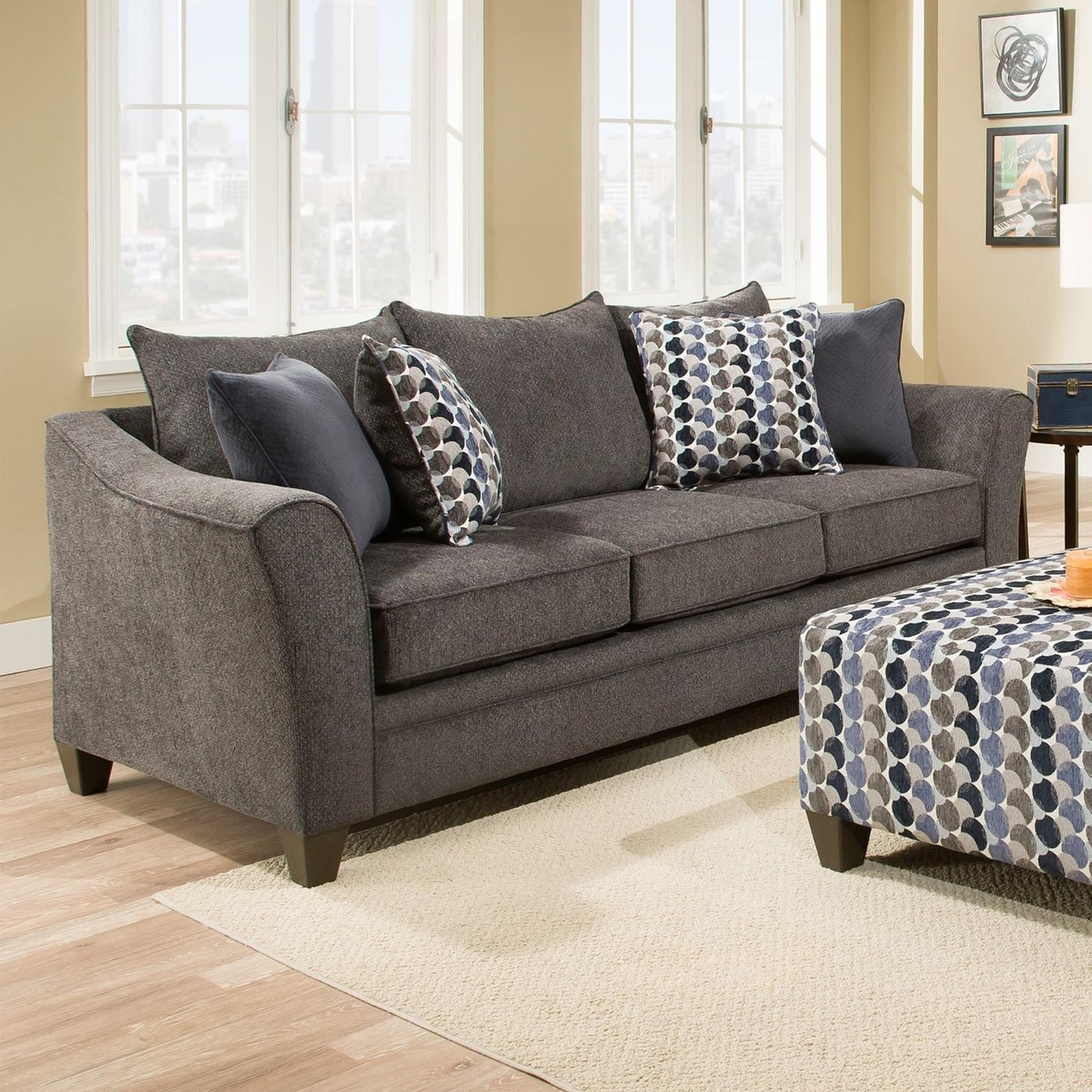 Umber Kiara 6485Sofa Transitional Sofa With Flared Arms | Efo Within Kiara Sofa Chairs (View 8 of 25)