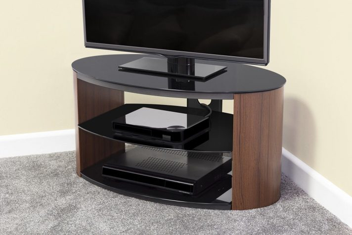 Universal Oval Tv Stand Walnut Effect W Black Glass Top And Shelves in Favorite Oval White Tv Stand