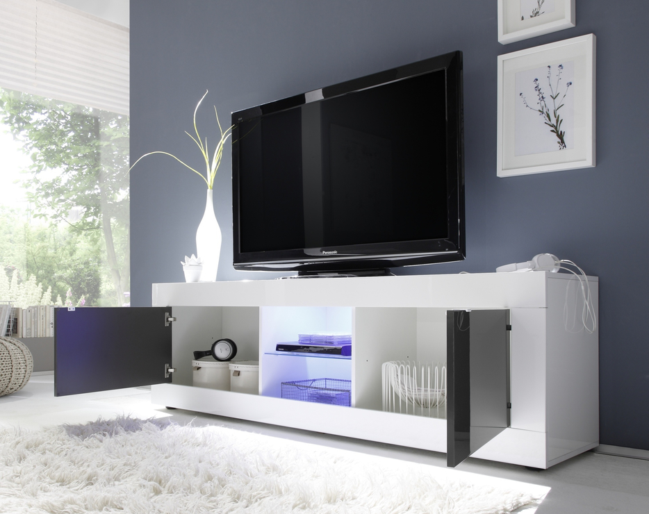 Urbino Collection Big Tv Unit Including Led Spot - White Gloss in Well-known Modern White Gloss Tv Stands