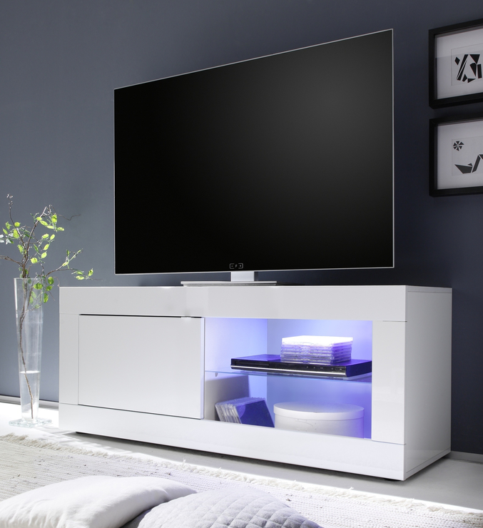 Urbino Collection Small Tv Unit Including Led Spot Light – High Intended For Most Recent Gloss White Tv Cabinets (Photo 17 of 25)
