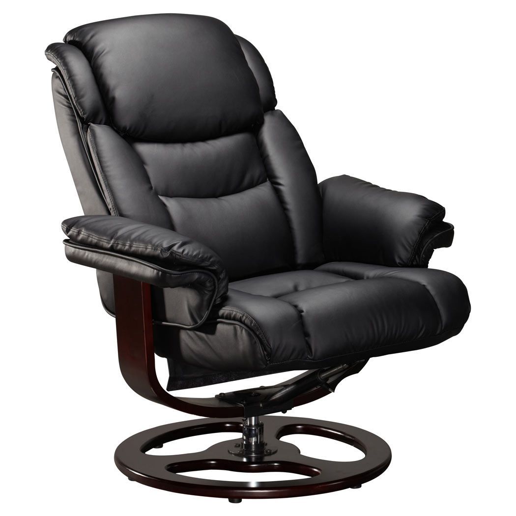 Vienna Real Leather Black Swivel Recliner Chair W Foot Black Spindle Within Leather Black Swivel Chairs (View 10 of 25)