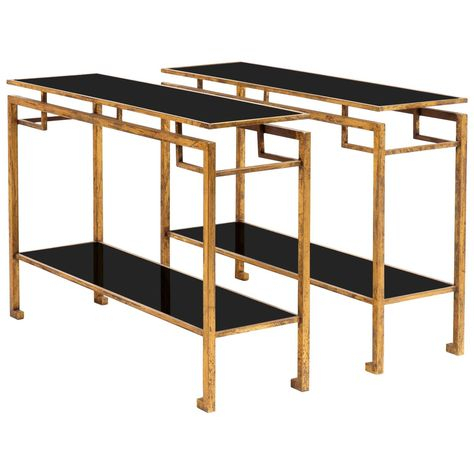 Vintage Gilt Console Tables In The Style Of Jacques Adnet (Image 24 of 25)