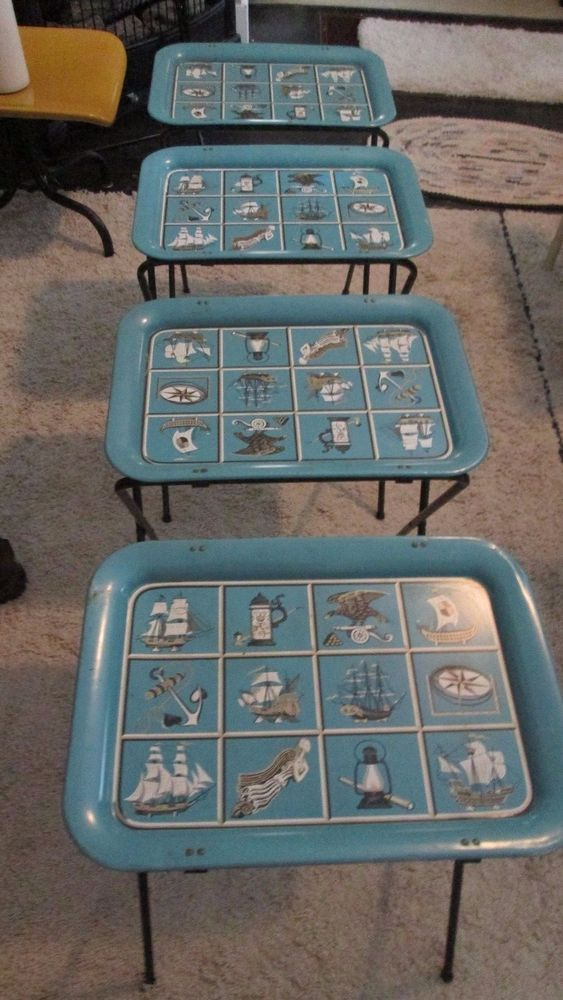 Vintage Metal Tv Trays On Stands Nautical Retro Mid Century Set Of 4 inside Most Recent Tv Tray Set With Stands