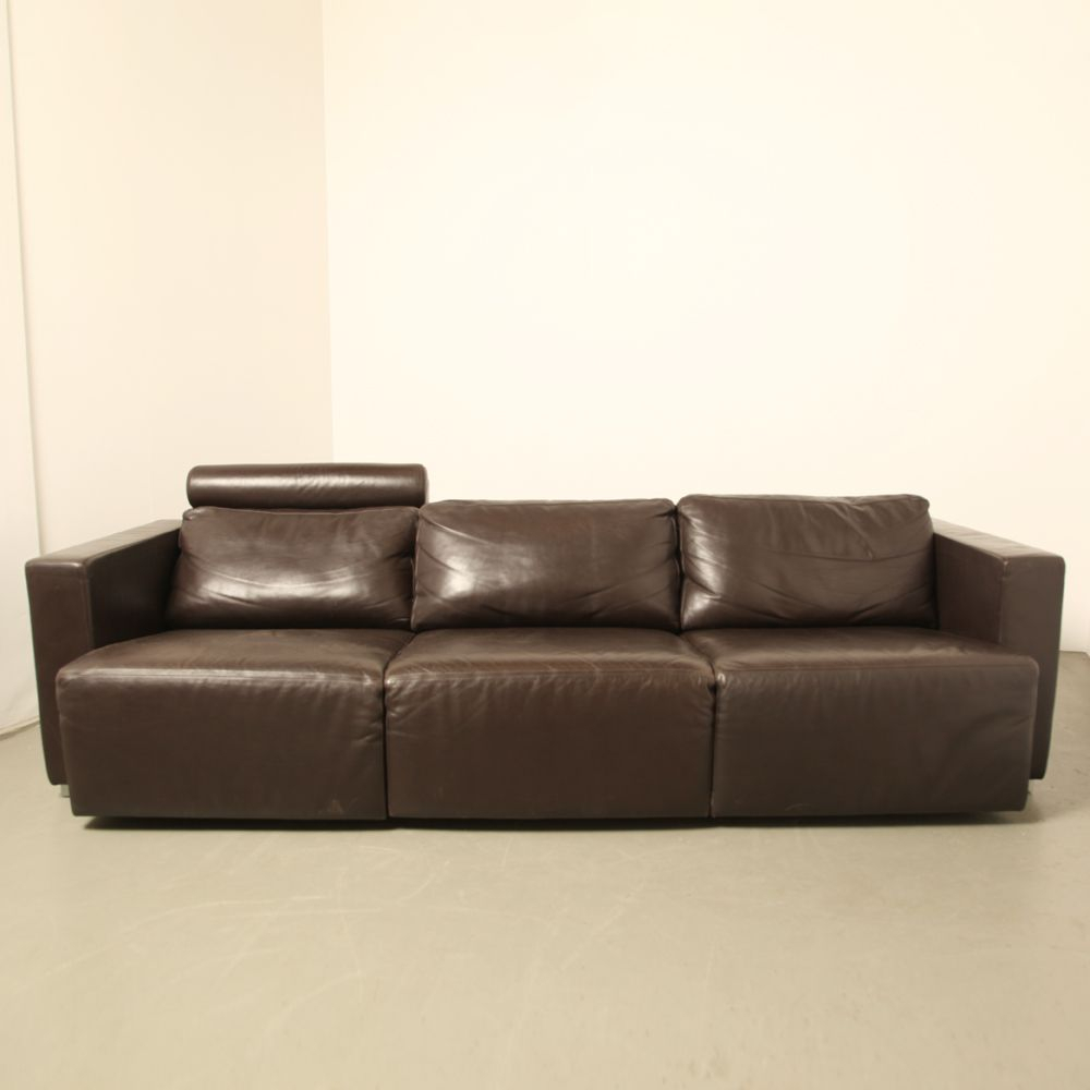 Vintage Modular Brown Leather Sofawalter Knoll For Sale At Pamono For Walter Leather Sofa Chairs (Image 7 of 25)
