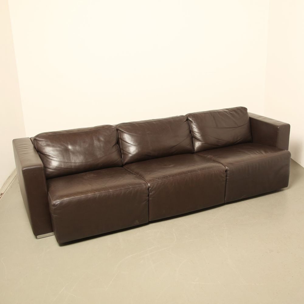 Vintage Modular Brown Leather Sofawalter Knoll For Sale At Pamono Throughout Walter Leather Sofa Chairs (Image 9 of 25)