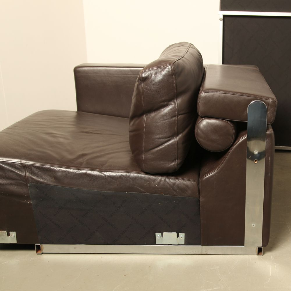 Vintage Modular Brown Leather Sofawalter Knoll For Sale At Pamono Throughout Walter Leather Sofa Chairs (Image 8 of 25)