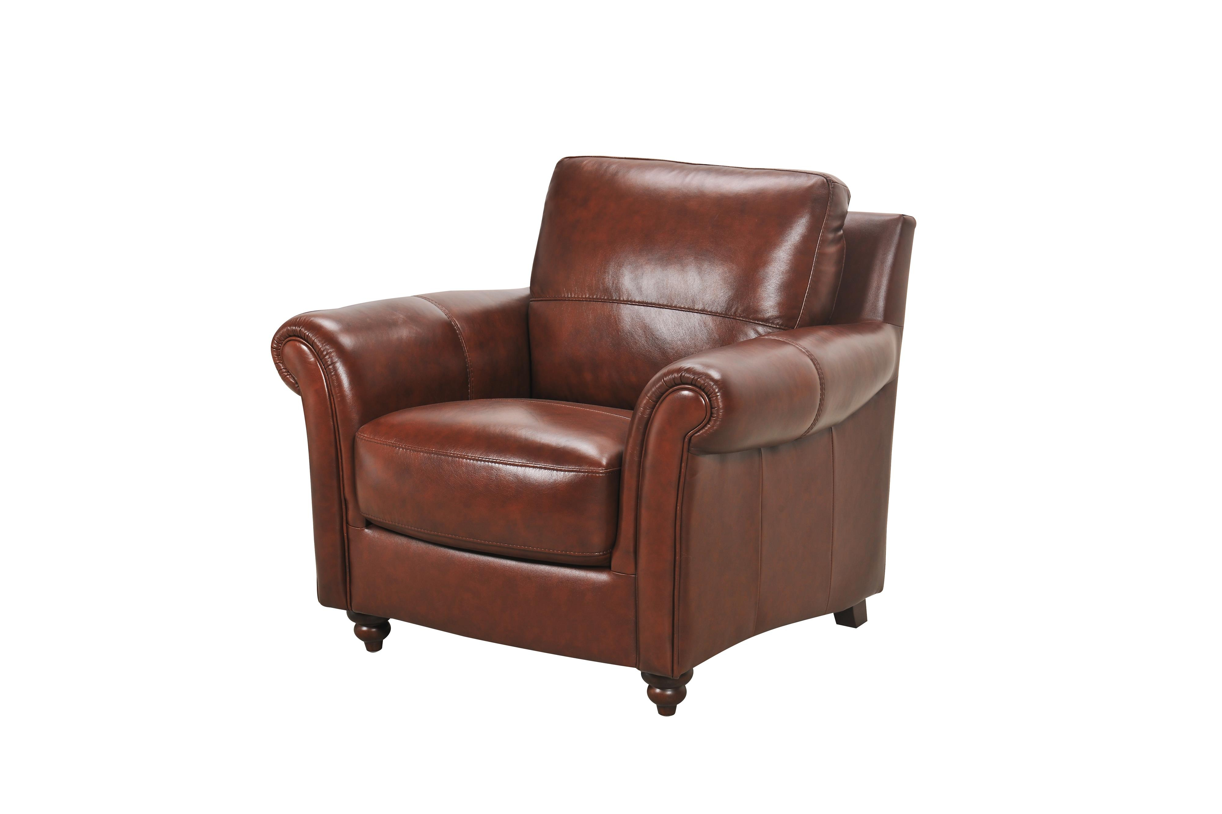Violino Grady 3508 1P Leather Chair With Rolled Arms And Turned Wood With Regard To Mitchell Arm Sofa Chairs (Image 25 of 25)