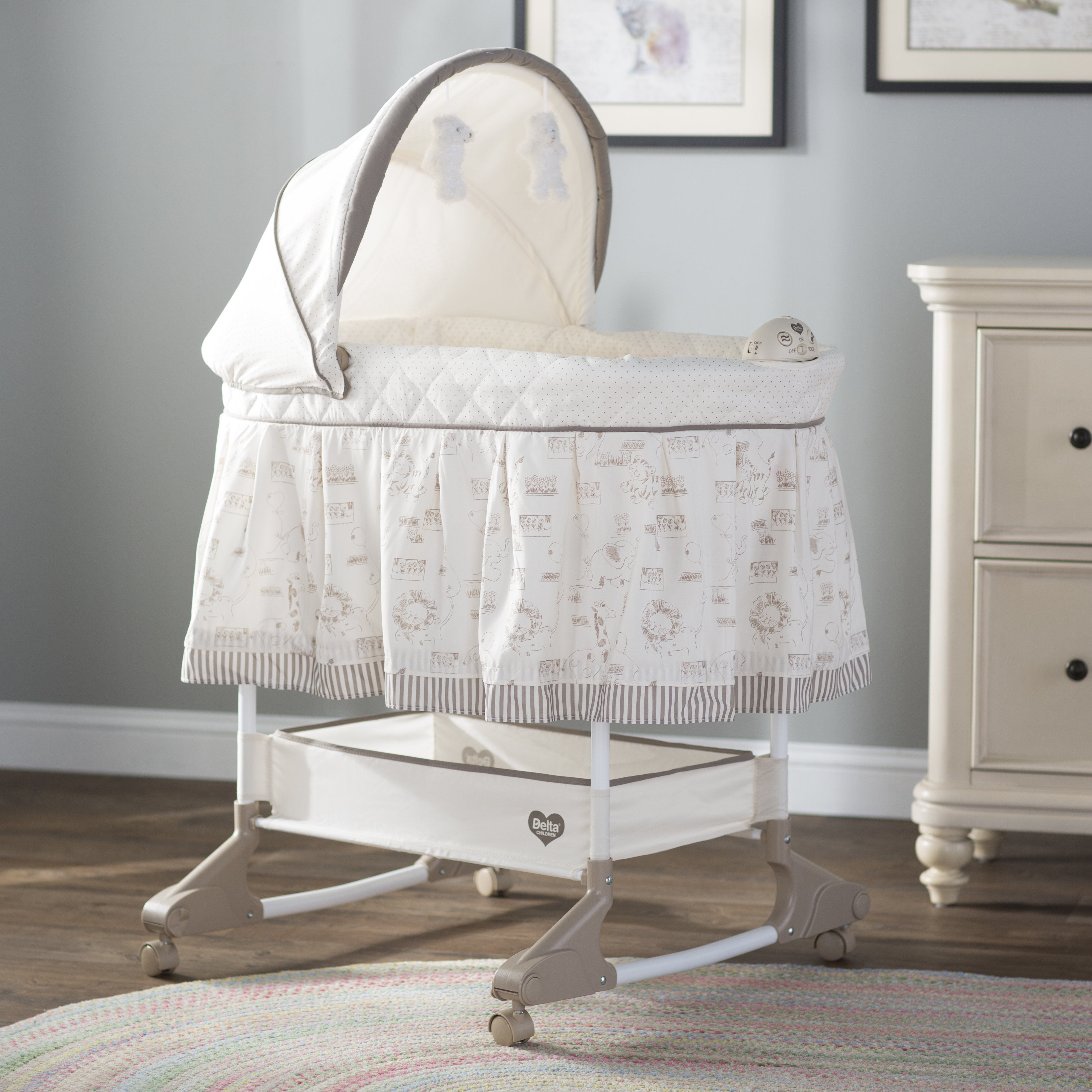 Viv + Rae Rosthern Rocking Bassinet & Reviews | Wayfair With Bailey Mist Track Arm Skirted Swivel Gliders (View 21 of 25)