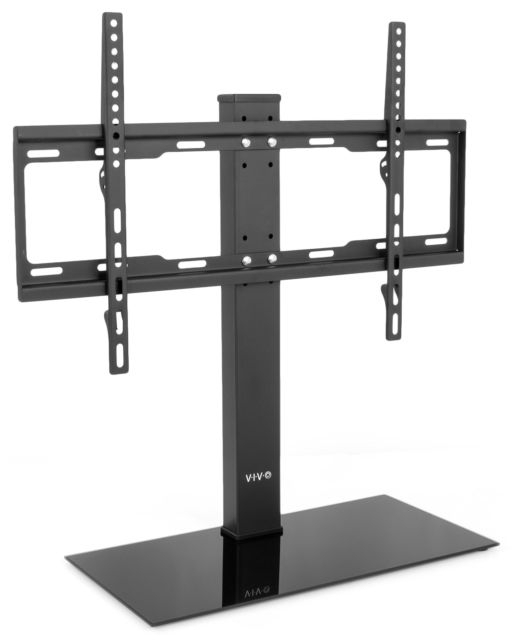 Vivo Black Universal Flat Screen Tv Table Top Stand W/ Glass Base Intended For Best And Newest Universal Flat Screen Tv Stands (Image 25 of 25)