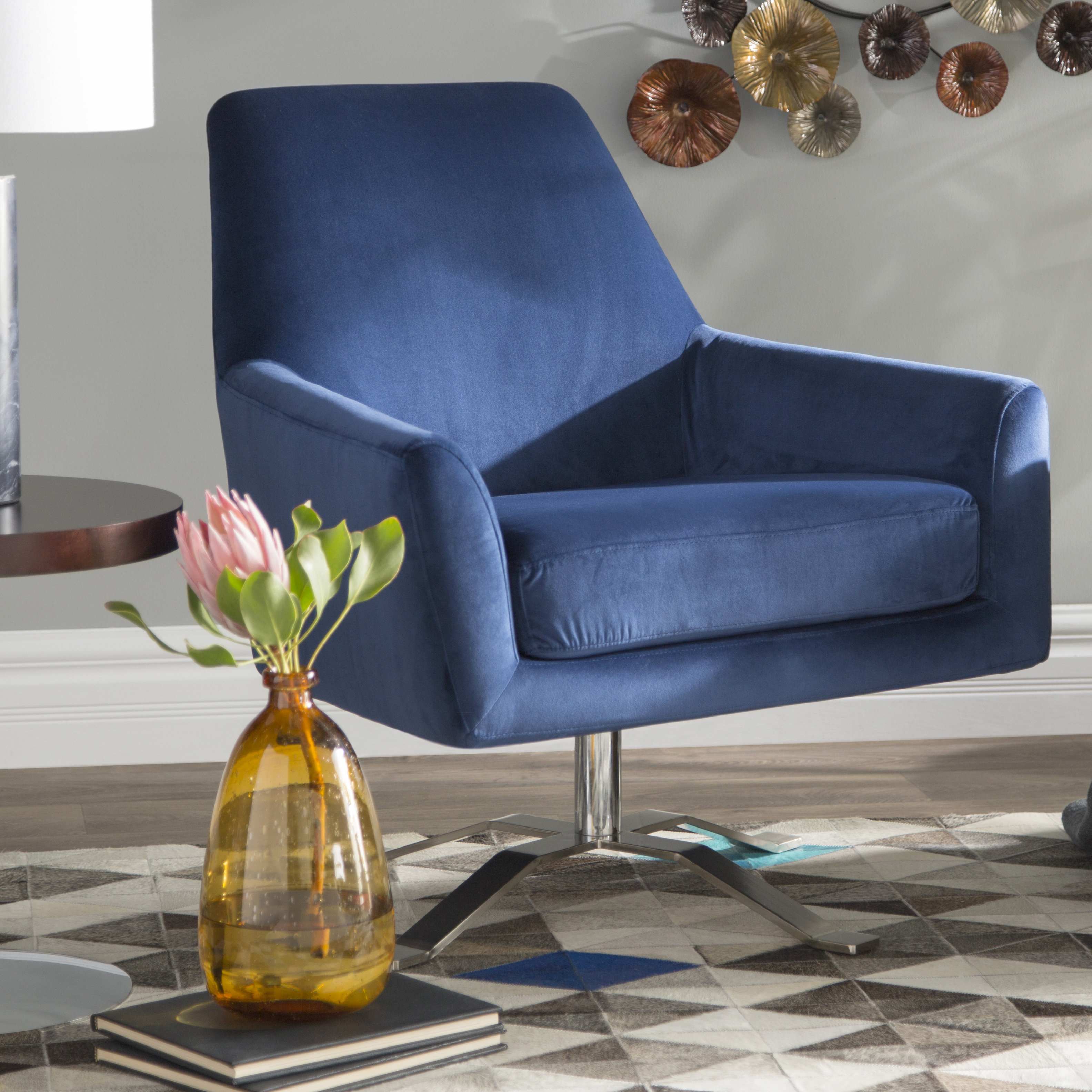 Wade Logan Edmund Swivel Armchair & Reviews | Wayfair Intended For Harbor Grey Swivel Accent Chairs (Image 25 of 25)