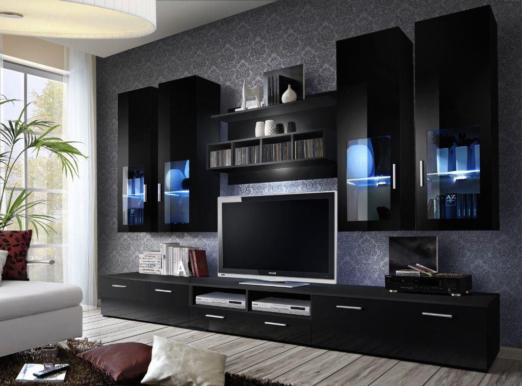 Wall Units: Inspiring Tv Wall Units For Sale Small Wall Units For Tv Throughout Widely Used Black Gloss Tv Wall Unit (Image 24 of 25)