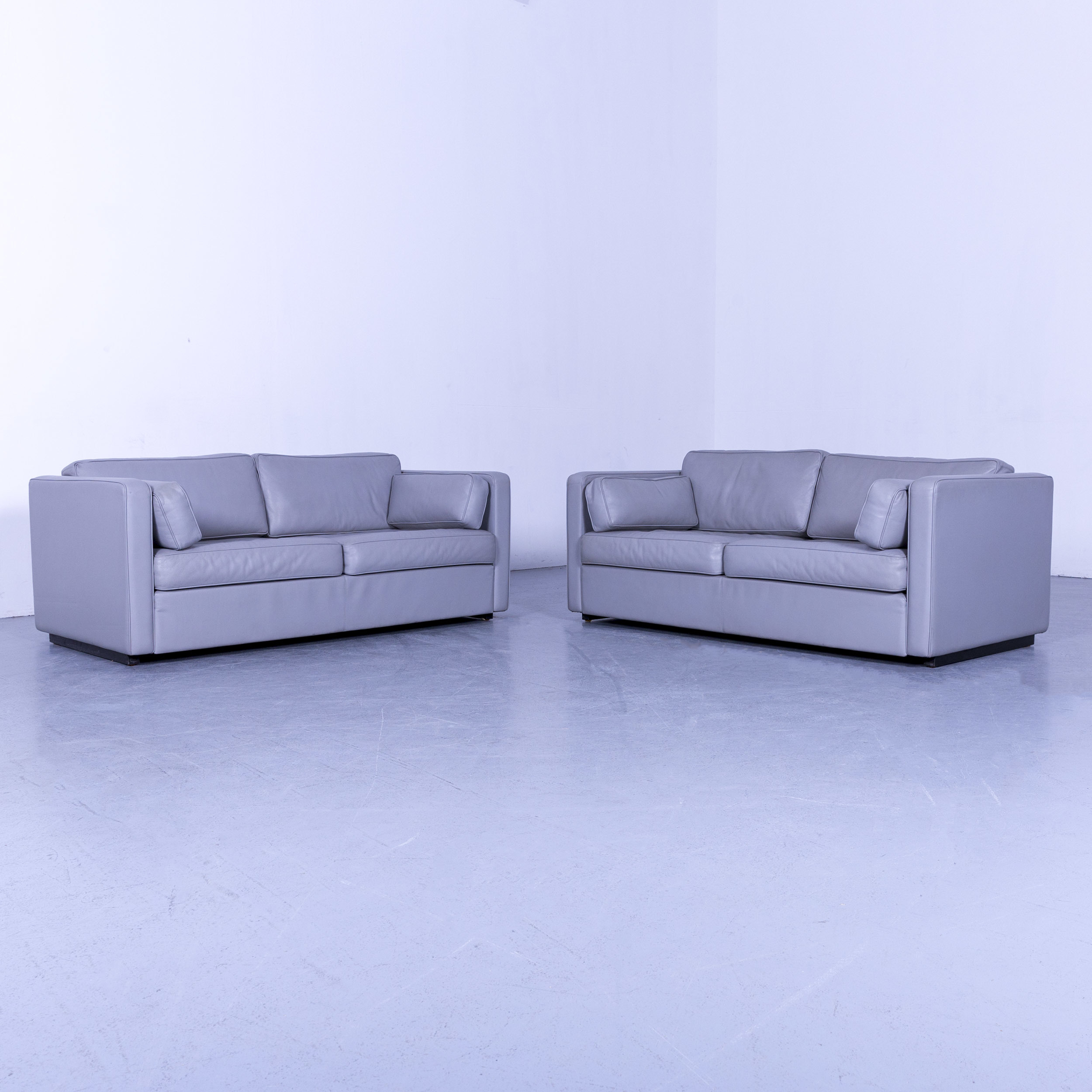 Walter Knoll Designer Leather Sofa Set Gray Two Seater Couch Genuine Regarding Walter Leather Sofa Chairs (Image 15 of 25)