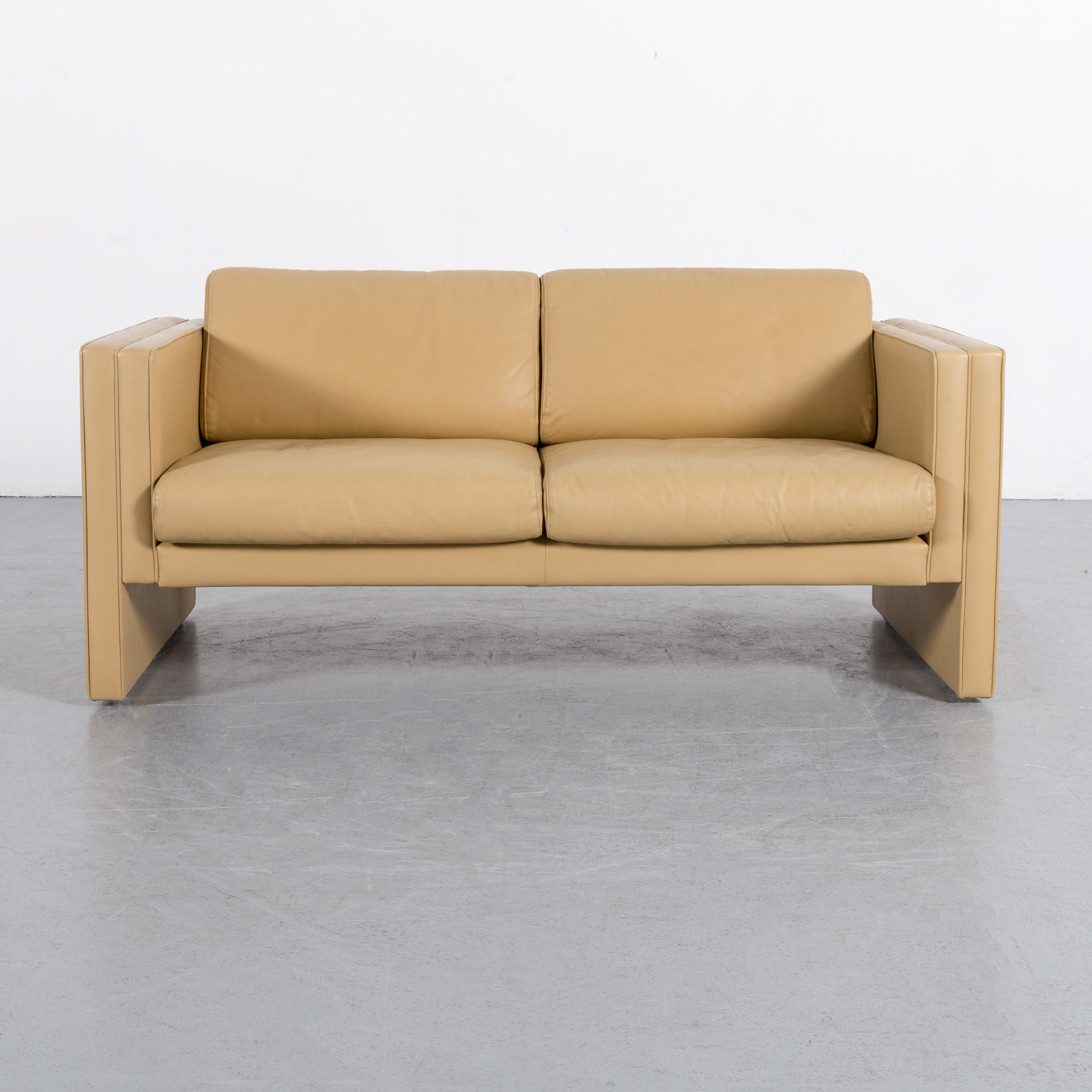 Walter Knoll Leather Sofa Yellow Beige Two Seater Couch Genuine Within Walter Leather Sofa Chairs (Image 18 of 25)