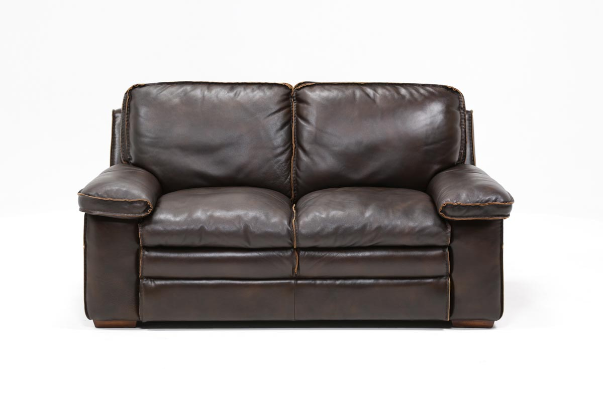 Walter Leather Loveseat | Living Spaces Regarding Walter Leather Sofa Chairs (Image 21 of 25)