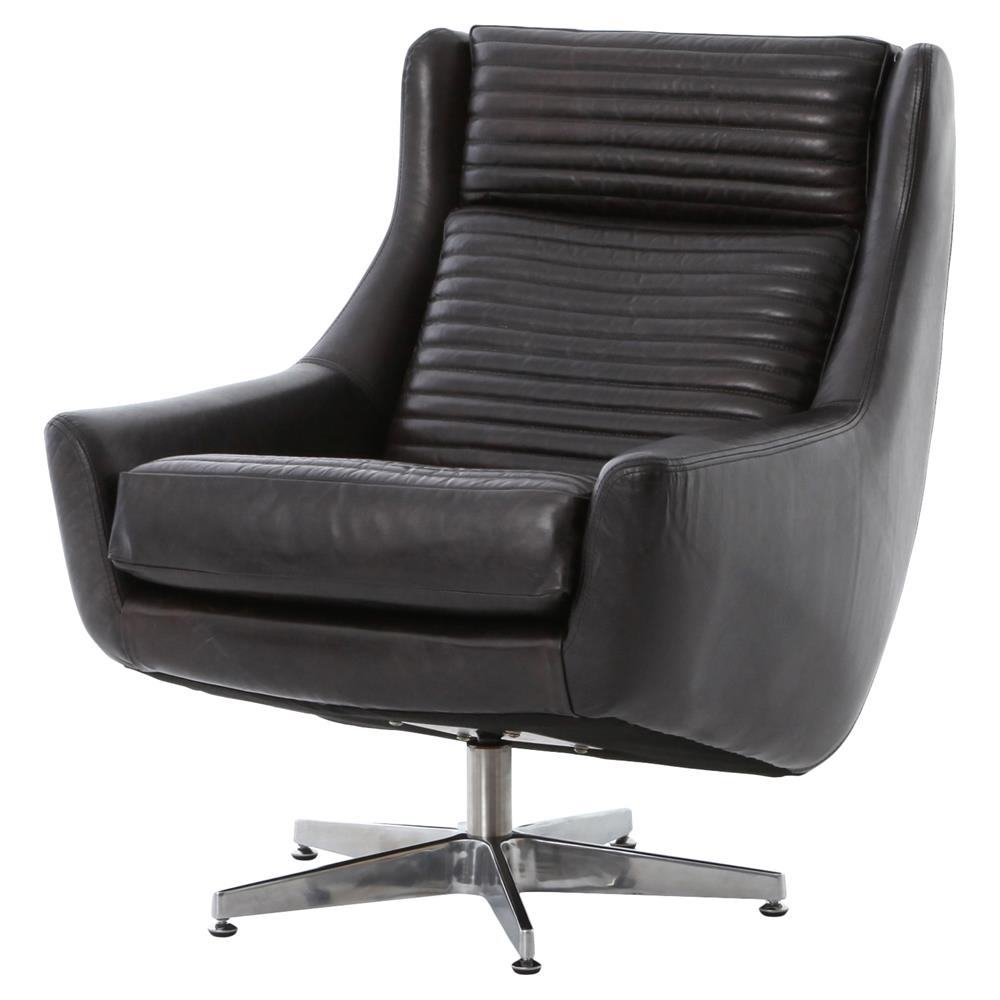 Warley Mid Century Masculine Black Leather Swivel Chair | Kathy Kuo Home Intended For Espresso Leather Swivel Chairs (Image 24 of 25)