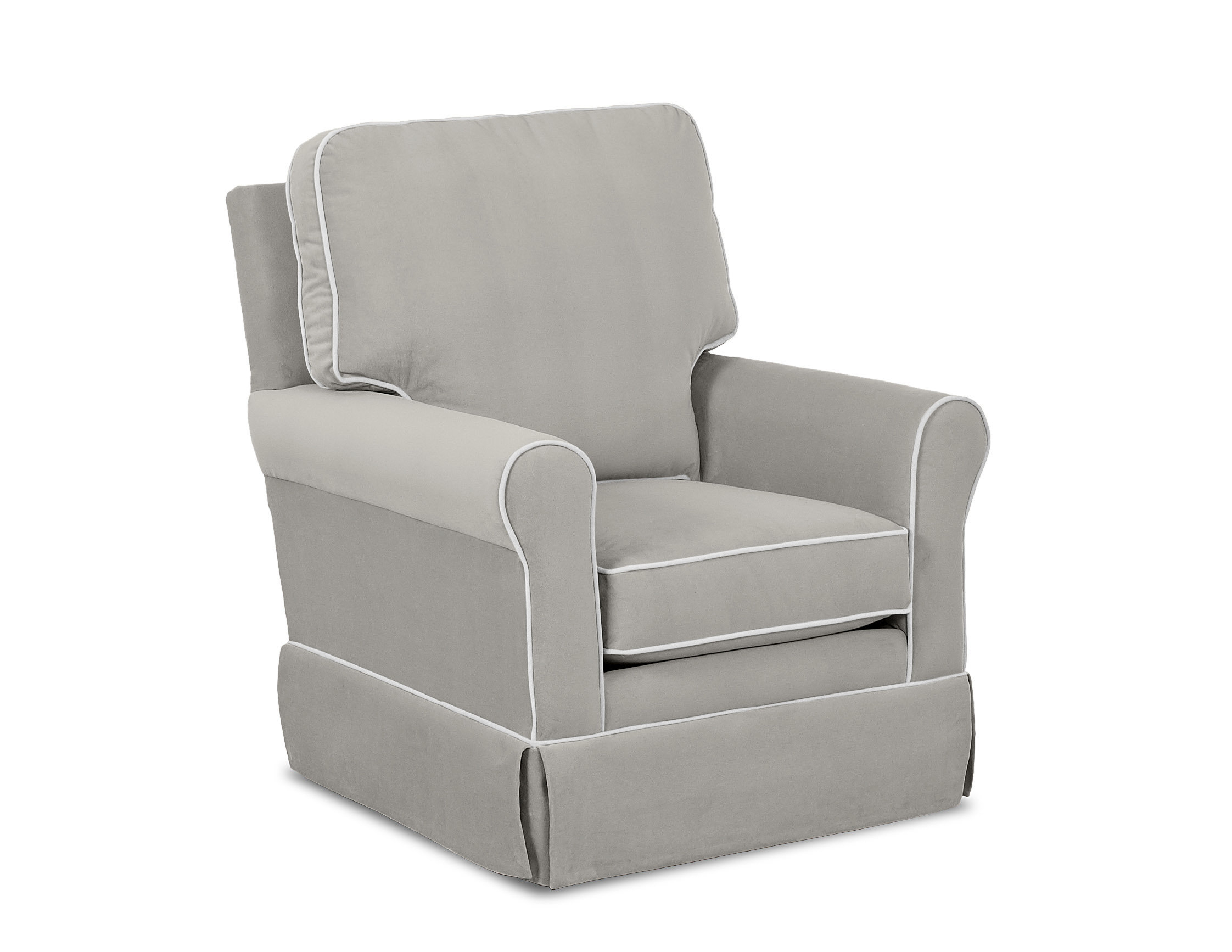 Wayfair Custom Upholstery™ Bridgeport Swivel Glider With Contrasting Pertaining To Katrina Grey Swivel Glider Chairs (View 2 of 25)