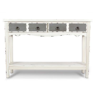 Well Known Antique White Distressed Console Tables Throughout Modern Two Tone – Two Drawer Distressed Console Entryway Table (View 13 of 25)