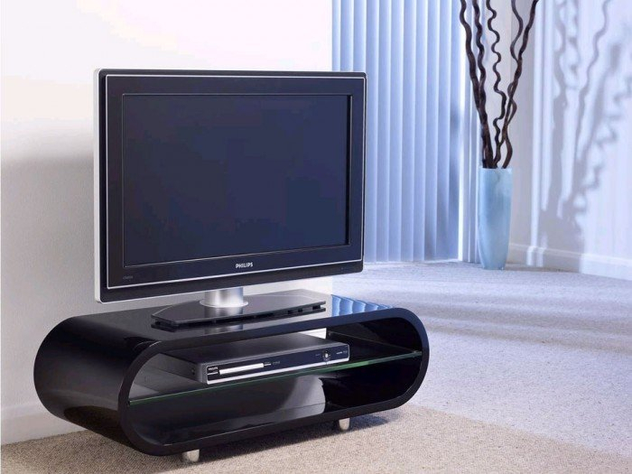 Well Known Black Gloss Tv Stands Throughout Techlink Ovid Ov95B Gloss Black Tv Stand (406012) (Image 23 of 25)