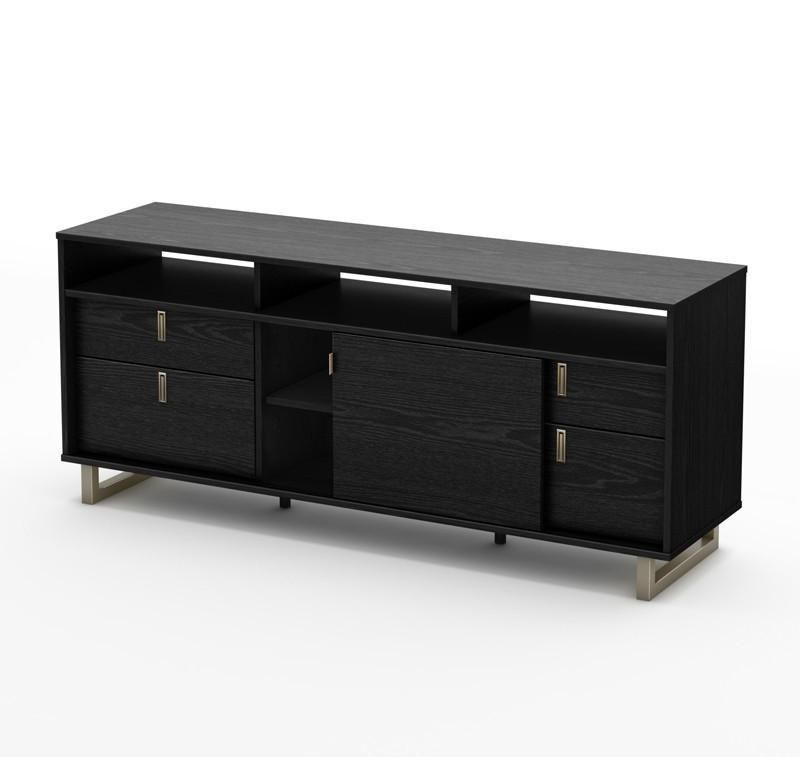 Well Known Black Tv Cabinets With Drawers For South Shore 4347678 Uber Collection Tv Stand Black Oak (View 18 of 25)