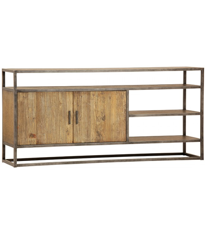 Well Known Burnt Oak Metal Sideboards Pertaining To Eclectic Reclaimed Wood & Metal Sideboard (View 6 of 25)