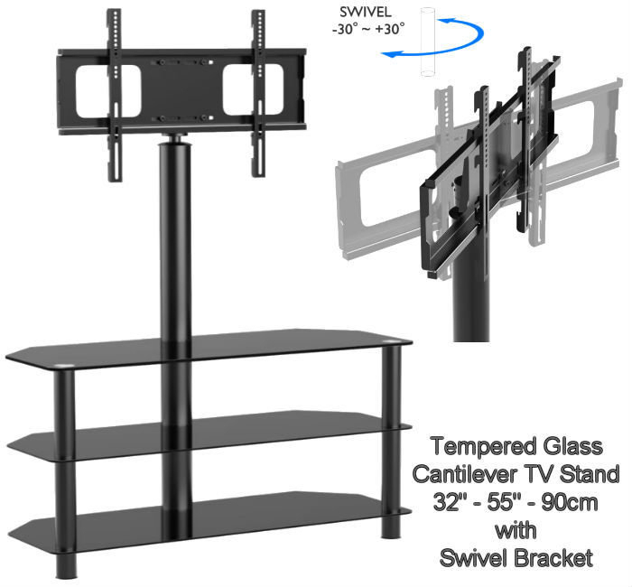 Well Known Cantilever Glass Tv Stand Pertaining To Brand New 110Cm Cantilever Glass Tv Stand Swivel Bracket In (Image 24 of 25)