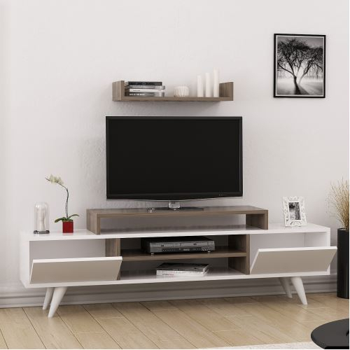 Well Known Cato 60 Inch Tv Stands With Minar Melis Tv Ünitesi Ceviz/beyaz (View 13 of 25)