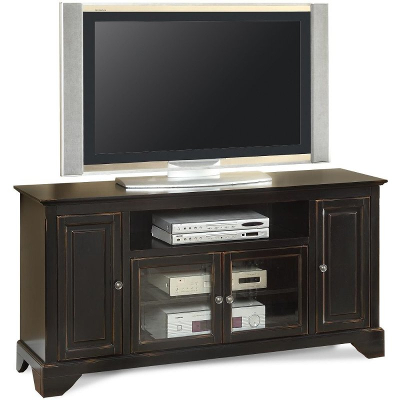 Well Known Draper 62 Inch Tv Stands Throughout 60 Inch Distressed Black Tv Stand – River City (View 21 of 25)